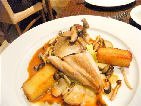 Sauteed chicken with wild mushrooms and polenta