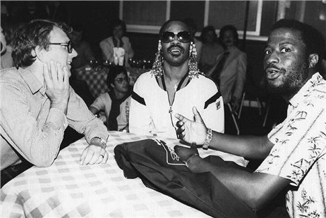 Les Spaine, Right, With Stevie Wonder At The Hotter Than July Party In The 1980S