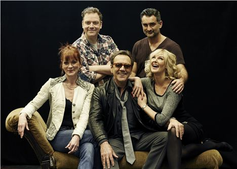 Rehearsal Image (from left): Samantha Bond, Rufus Hound, Robert Lindsay, John Marquez and Katherine Kingsley