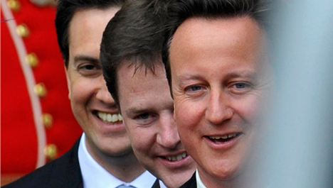 Cameron Clegg and Milliband chase young votes in Liverpool
