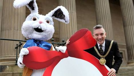 Lord Mayor encounters giant white rabbit