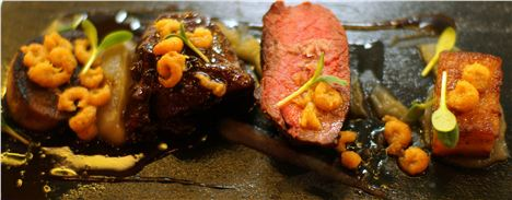 Tongue, sirloin and featherblade, shallot puree, duck fat fondant and brown shrimp butter