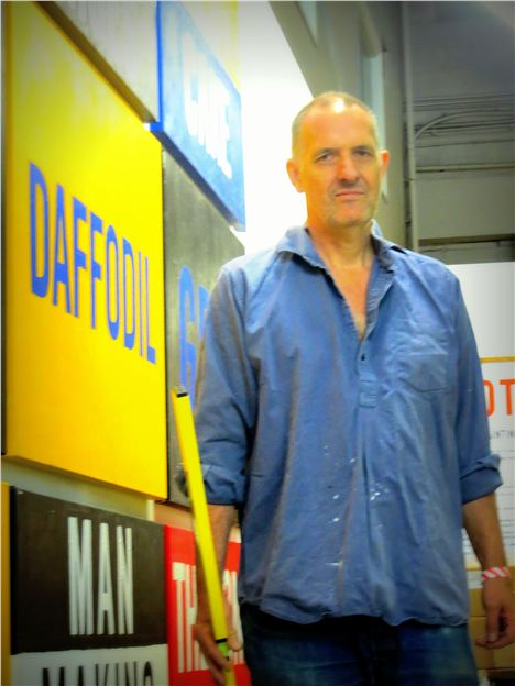 Bill Drummond Hanging His 25 Paintings At The Manchester Contemporary Yesterday