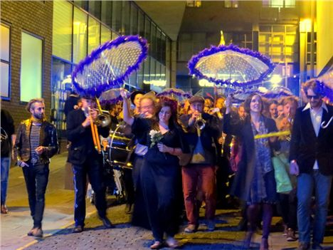 Howard, Jo, Laura and Rob lead the revellers
